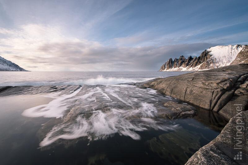 Langzeitbelichtung einer Welle