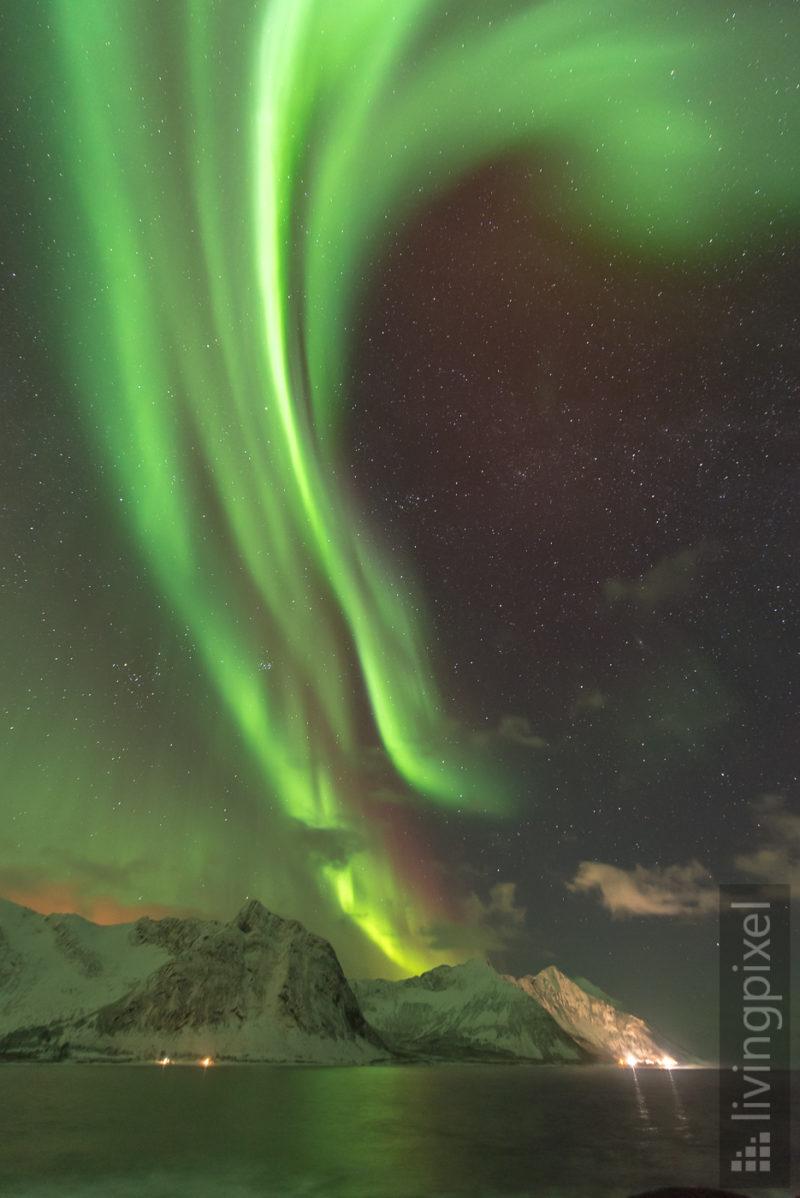 Polarlicht über dem Fjord
